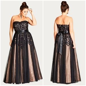 City Chic embellished tulle formal gown strapless